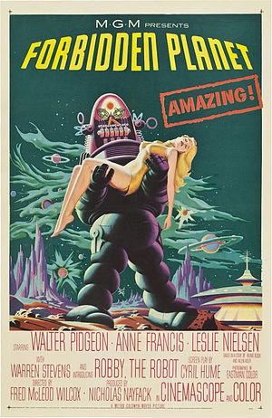 Robby the Robot - Robby the Robot in a first-run movie poster for Forbidden Planet. (The lurid presentation does not accurately reflect the character in the film.)