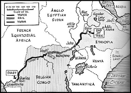 Map showing journey of Belgian forces from the Congo to Ethiopia Force Publique trek 1941.jpg