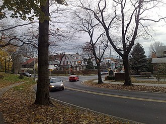 Woodhaven, Queens - Forest Park Drive north of Park Lane South, in Woodhaven, Queens.