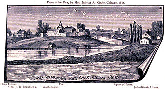 History of Chicago - Fort Dearborn depicted as in 1831, sketched 1850s although the accuracy of the sketch was debated soon after it appeared.