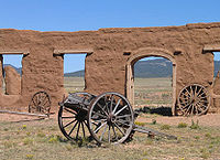 Wagon in the mechanics corral of Fort Union National Monument, New Mexico