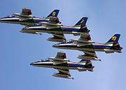 The Frecce Tricolori aerobatics team of the Italian Air Force, flying at the Royal International Air Tattoo, Fairford, England in (2005)