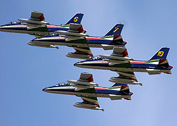 The Frecce Tricolori aerobatic team of the Italian Air Force, flying at the Royal International Air Tattoo, Fairford, England, in 2005
