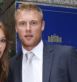 Freddie flintoff out side the Royal Garden Hotel London (cropped).jpg