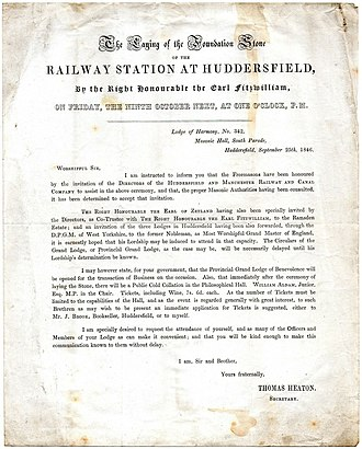 Huddersfield railway station - Freemasons' circular, dated 25 September 1846, regarding attendance at the laying of the station's foundation stone by the Earl Fitzwilliam