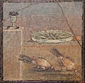 Fresco from Pompeii with a small vessel full of olives, a tray with fish and two partridges, from the Villa of Diomedes, Naples National Archaeological Museum (31401586587).jpg