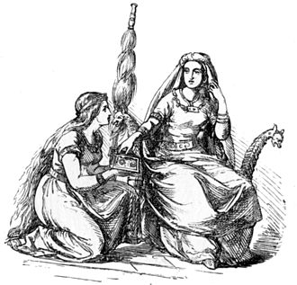 Fulla - A depiction of Fulla kneeling beside her mistress, Frigg, (1865) by Ludwig Pietsch.