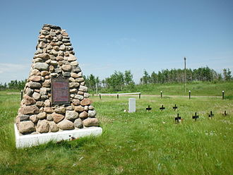 North-West Rebellion - A cairn commemoriating the Frog Lake massacre is located in the cemetery with the graves of those killed.