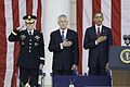 From left, Chairman of the Joint Chiefs of Staff Army Gen. Martin E. Dempsey, Secretary of Defense Chuck Hagel and President Barack Obama render honors during the playing of the national anthem as part of 130527-A-LR102-378.jpg
