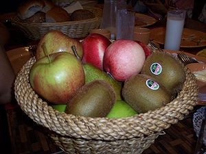 Pieces of fruit in a basket