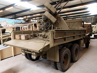 M45 Quadmount - CCKW-353-B2 gun truck with M45 on M20 trailer in bed, loading ramps attached to side.  This configuration did not see combat in World War II as it was still in testing by the cessation of hostilities.