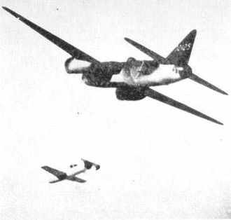 Mother ship - A Japanese Mitsubishi G4M2e Betty launching an Ohka