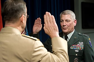 Carter Ham - Ham being sworn in as the commander of USAREUR by Michael Mullen in August 2008.
