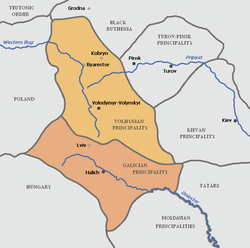 Principality of Volhynia (shown in orange)