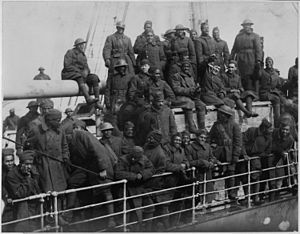 Gallant 15th Infantry Fighters Home with War Crosses. The French liner, La France, arrives wit . . . - NARA - 533487.jpg