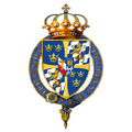 Garter-encircled Arms of Gustaf VI Adolf, King of Sweden.png