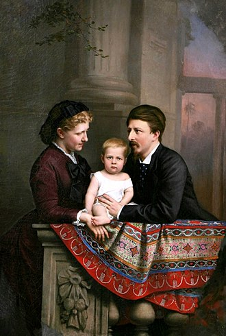 Pedro de Alcântara, Prince of Grão-Pará - Painting of the Prince of Grão-Pará with his parents, 1877