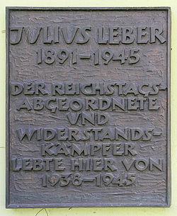 Photo of Julius Leber black plaque