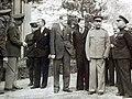 General Marshall, Sir Archibald Clark Kerr, and Marshal Stalin at Tehran Conference, Iran, 1943 (24377421686).jpg