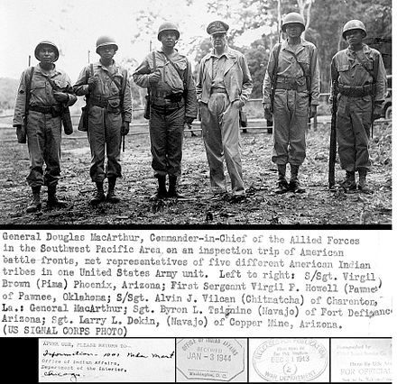 General Douglas MacArthur meeting Navajo, Pima, Pawnee and other Native American troops. General douglas macarthur meets american indian troops wwii military pacific navajo pima island hopping.JPG