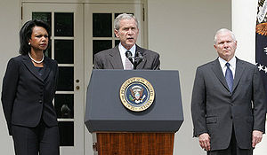 Humanitarian response to the Russo-Georgian War - US President George W. Bush (center) announcing the planned U.S. delivery of aid to Georgia, headed by Secretary of Defense Robert Gates (right)