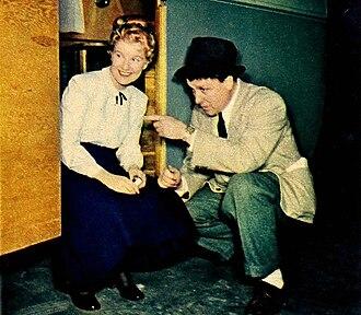 I Remember Mama (film) - Director George Stevens with Barbara Bel Geddes on set
