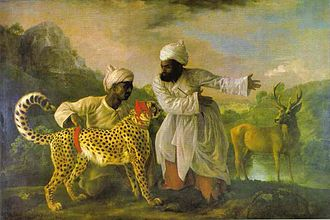 Hunting - George Stubbs Cheetah with Two Indian Attendants and a Stag