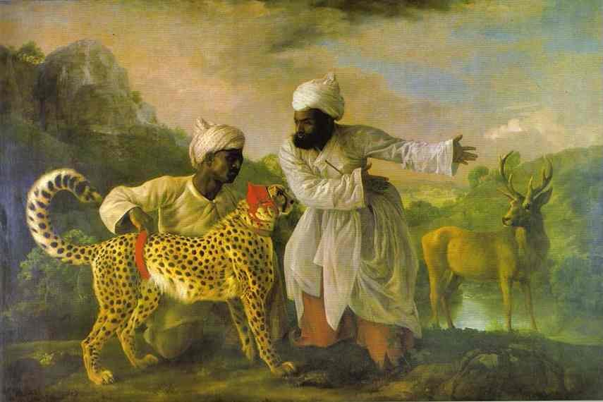 George Stubbs Cheetah with Two Indian Attendants and a Stag