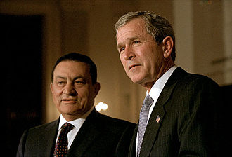 Hosni Mubarak - With the U.S. President, George W. Bush, March 2002