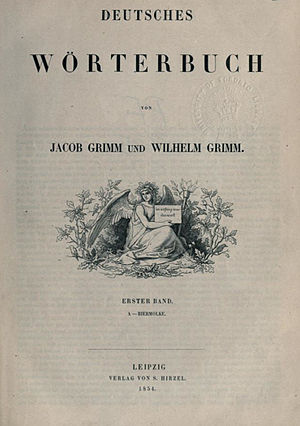 Deutsches Wörterbuch - The original title page of the Deutsches Wörterbuch, 1854