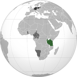 Green: Territory comprising German colony of German East Africa Dark gray: Other German possessions Darkest gray: German Empire Note: the map depicts the historical extent for German territories on a globe showing present day borders