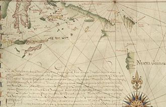 Janszoon voyage of 1605–06 - Gerritsz, Nueva Guinea, 1622, showing Jansz's discoveries: Part of Hessel Gerrits's 1622 map of the Pacific