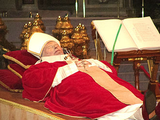 Lying in state - Pope John Paul II's body lying in state.