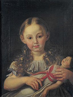 Girl with doll German ca 1800