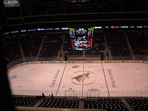Gila River Arena - Gila River Arena before a Coyotes game; from west side, looking east