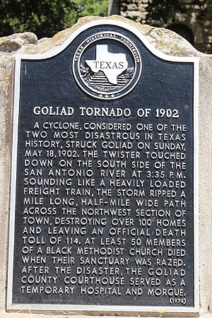 1902 Goliad, Texas, tornado - Historical marker remembering the Goliad tornado of 1902 (Darrylpearson)