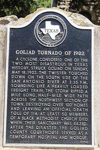 1902 Goliad, Texas, tornado - Historical marker remembering the Goliad tornado of 1902 (Darrylpearson)