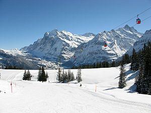 Grindelwald–Männlichen gondola cableway - View to the valley, in the background Wetterhorn and Schreckhorn