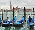 Gondolas and Church of San Giorgio Maggiore. Venice, Italy.jpg