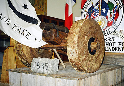 This cannon, displayed at the Gonzales Memorial Museum, may have precipitated the battle. Gonzales cannon 2005.jpg