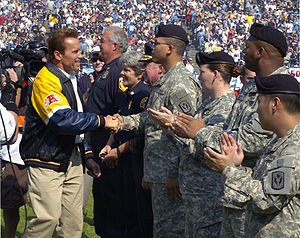 2007 San Diego Chargers season - Governor Schwarzenegger thanks California Army National Guard for their efforts during the Southern California wildfires.