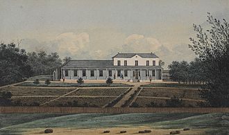 Rum Rebellion - Watercolour drawing of First Government House, Sydney, ca. 1809