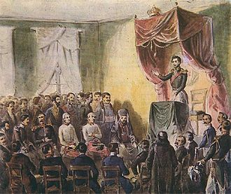 Mihailo Obrenović - Prince Mihailo speaks to the Society of Serbian Scholarship members at the first meeting on 8 June 1842.