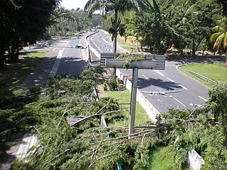 2009 French Caribbean general strikes - A road block on the RN4, near Le Gosier.