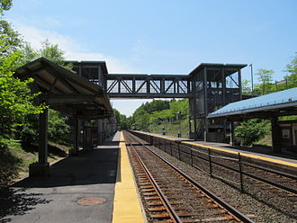 Framingham/Worcester Line - Grafton station, with large ramps and mini-high platforms for handicapped accessibility, is typical of the west-of-Framingham stations built around 2000