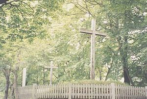 Shingō, Aomori - Crosses mark the graves. The cross on the right is the alleged grave of Jesus Christ.