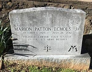 M. Patton Echols - Echols's gravestone at the University of Virginia Cemetery in Charlottesville, Virginia.