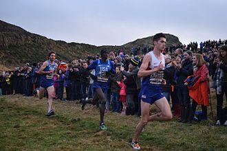 Great Edinburgh International Cross Country - Korir (2017 winner) with Hawkins (2017 runner-up) and Heath (2014, 2015 and 2016 winner)