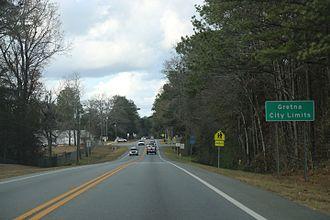 Gretna, Florida - The sign for Gretna on U.S. Route 90
