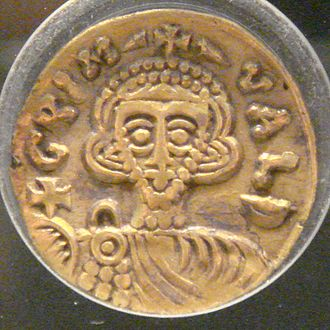 Grimoald III of Benevento - A gold tremissis of Grimoald's reign now in the Monnaie de Paris